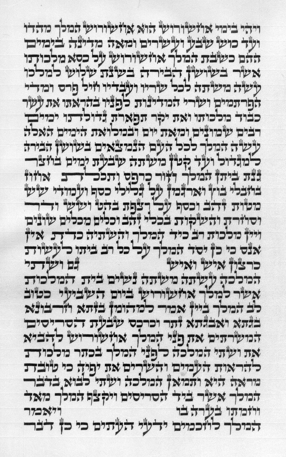 צילום קטע מגילת אסתר כא 28 עמוד א